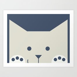 Peek-a-Boo Kitty with Paws Up and a Little Smile. (: Warm grays on Navy Art Print