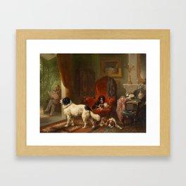 Wouteus Verschuur Sr. (1812-1874),Interior mit Dogs, View of a Pergola Framed Art Print