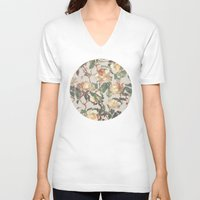 bedding V-neck T-shirts featuring Soft Vintage Rose Pattern by micklyn