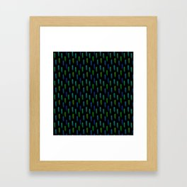Neon Blue and Green Pattern Framed Art Print