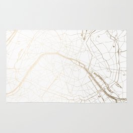 Paris Gold and White Street Map Rug