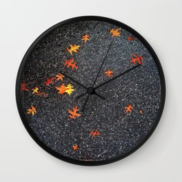 Scattered Leaves on Pavement no.5 Wall Clock