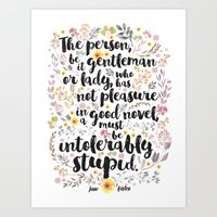 jane austen Art Prints featuring Jane Austen - Intolerably Stupid  by Evie Seo