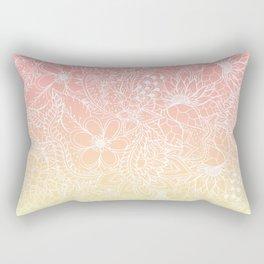Spring summer fruity pink lemon yellow gradient floral illustration pattern Rectangular Pillow