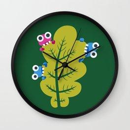 Bugs Eat Green Leaf Wall Clock