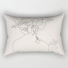 Woman with Flowers Minimal Line II Rectangular Pillow