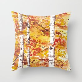 Fall Birch Trees Throw Pillow