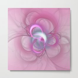 Pink Abstract Fractal on Pink Metal Print