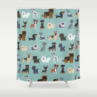 german Shower Curtains featuring GERMAN DOGS by Doggie Drawings