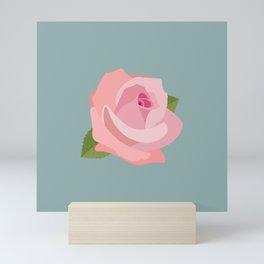 Pink Rose Illustration on Teal Mini Art Print