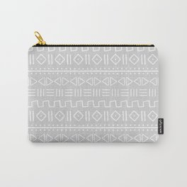 mudcloth white on grey Carry-All Pouch