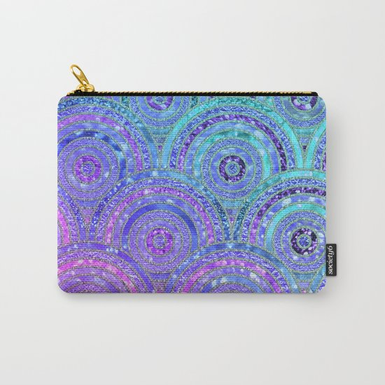 Aqua Blue Purple and Pink Sparkling Glitter Circles Carry-All Pouch