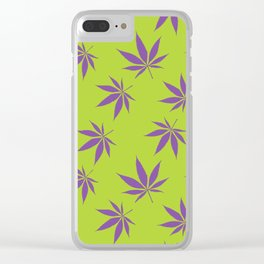 Marijuana leaves - green/purple Clear iPhone Case