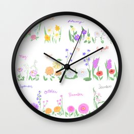 Birthday Month Flowers Wall Clock