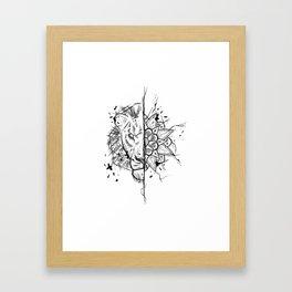 Lion Mandala Handmade Drawing, Made in pencil and ink, Tattoo Sketch, Tattoo Flash, Blackwork Framed Art Print
