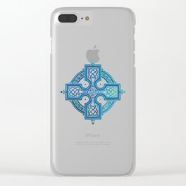 St. Patrick's Day Celtic Blue Cross Clear iPhone Case