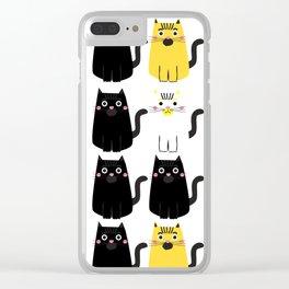 Black cat, white cat Clear iPhone Case