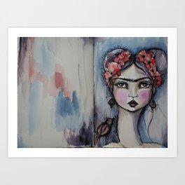 Frida with little bird Art Print