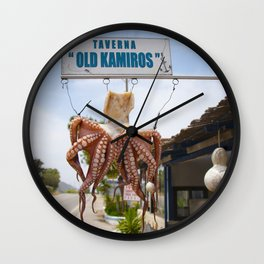Squid in Rhodes - Travel photography Greece Wall Clock