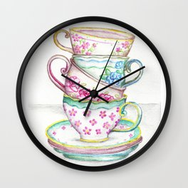 Tea Cup Art Kitchen Watercolor Painting Drawing Wall Clock