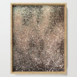 Sparkling GOLD BLACK Lady Glitter #1 #decor #art #society6 Serving Tray