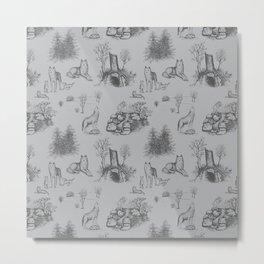 Eurasian Wolf Toile Pattern (Gray) Metal Print