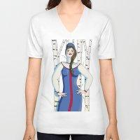 russian V-neck T-shirts featuring Russian beauty by Galina Khabarova