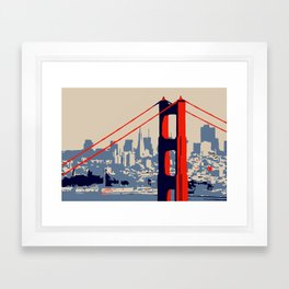 Golden gate bridge vector art Framed Art Print