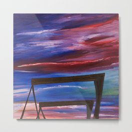 HARLAND AND WOLFF CRANES - Abstract Sky Oil Painting Metal Print