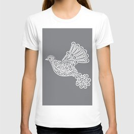 Peace, Dove, Gray and White T-shirt