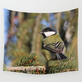 Parus major in its environment Wall Tapestry
