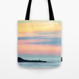 Sunset Overlooking the Yaquina Head Lighthouse Tote Bag
