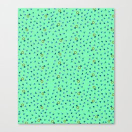 Diamond Pattern Cartoon Pins Ring Patch Style Teal Blue Cell Duck Egg Blue Design Canvas Print