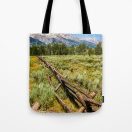 Grand Teton National Park Fence Line Rustic Print Tote Bag