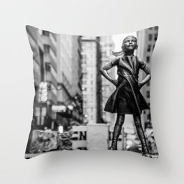 Fearless Girl New York City Throw Pillow