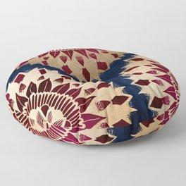 Bohemian Gold Navy Burgundy Hand Drawn Mandala Floor Pillow