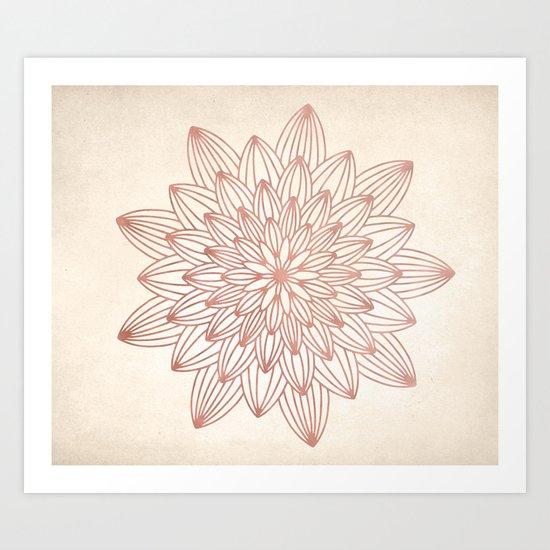 Mandala Blossom Rose Gold on Cream Art Print