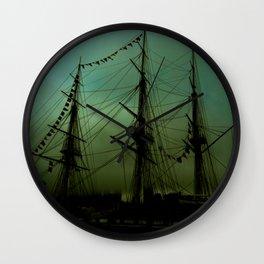 Green ship Wall Clock