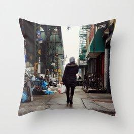 Walking Through Bushwick, Brooklyn Throw Pillow