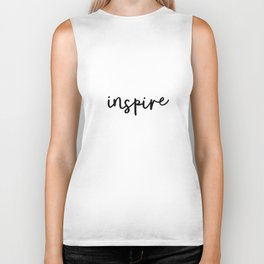 Inspire black and white minimalist monochrome typography poster design home wall bedroom decor Biker Tank