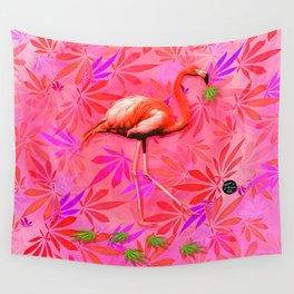 Blushing Cannabis Flamingo Wall Tapestry