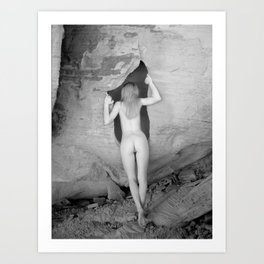 4094  Rear View B&W Nude Woman Naked Desert Feminine Classic Female Form Beautiful  Art Print