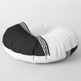 Greek Key 2 - White and Black Floor Pillow