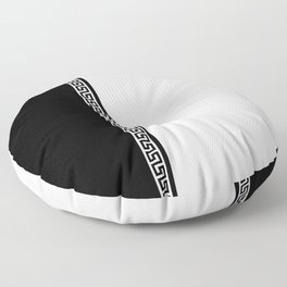 Greek Key 2 - White and Black Floor Pillow