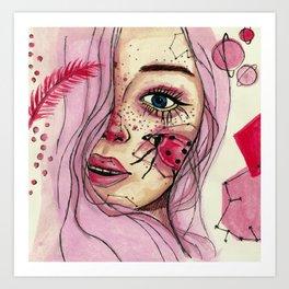 Pink ladybug women portrait Art Print