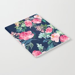 Navy and Pink Watercolor Peony Notebook