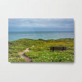 Bench over the Pacific Metal Print