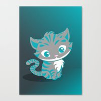 cheshire cat Canvas Prints featuring Cheshire Cat by Pixelowska