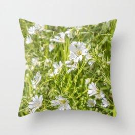 White Anenomes Throw Pillow