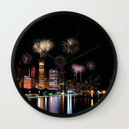 Chicago night skyline with fireworks. Wall Clock